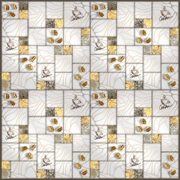 Декоративные панели мозаика 2 Квадрата Кофе Золото 595*595 мм